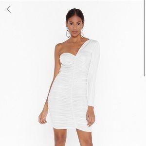 Metallic ruched one shoulder mini dress